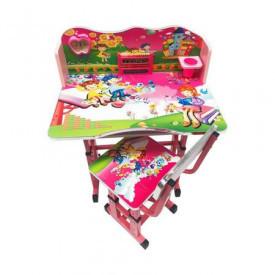 Birou cu scaunel pentru copii, cu numaratoare si suport creioane, pal si metal