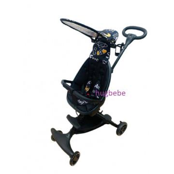 Carucior sport ultrausor, compact,cu scaun reversibil, parasolar rotativ, protectie UV, 6 luni-3 ani, negru imprimat