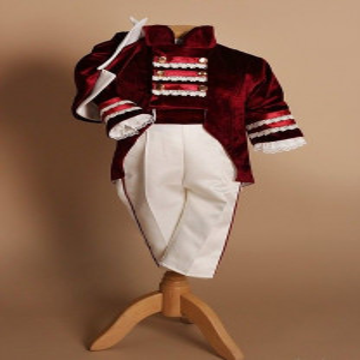 Costum de botez cu redingota,4 piese, burgundy