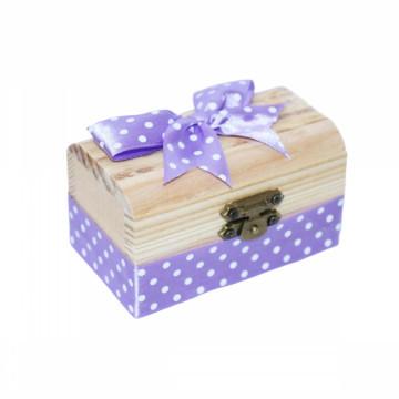 Cutiuta din lemn pentru suvita sau amintiri, lila buline