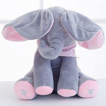 Elefantel CUCU BAU, muzical, ce misca urechile,gri