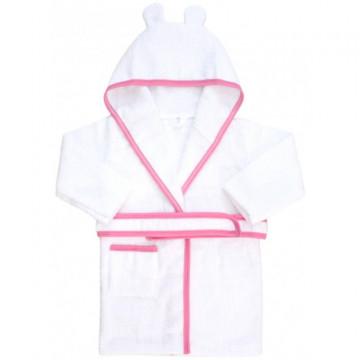 Halat de baie copii, bumbac alb/roz, cu margine albastra,broderie la cerere.