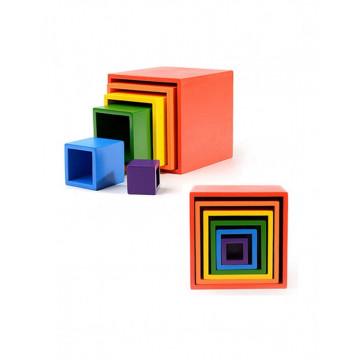 Joc din lemn Montessori, set 6 cuburi Curcubeu