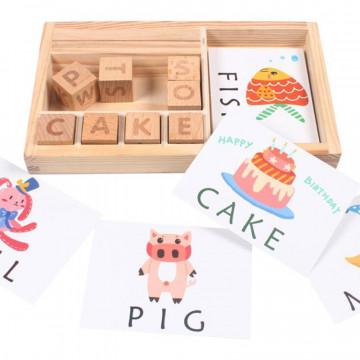 Joc educativ din lemn Invatam cu Cuburi si cartonase