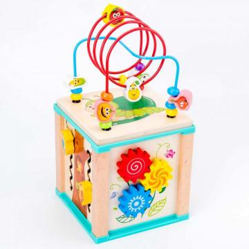 Jucarie Montessori Cub 5in1 labirint din lemn Bufnita