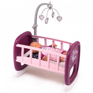 Leagan pentru papusa Smoby Baby Nurse mov cu carusel