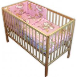 Lenjerie patut bebe cu 4 piese ursuletul somnoros roz