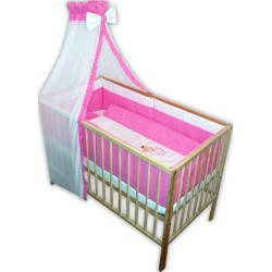 .Lenjerie patut bebe cu 6 piese roz