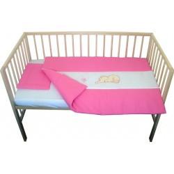 Lenjerie patut bebe cu broderie 3 piese roz