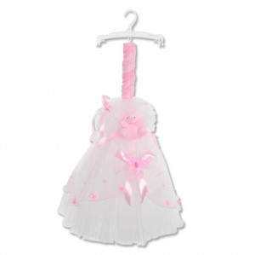 Lumanare botez, alb-roz, cu ornamente