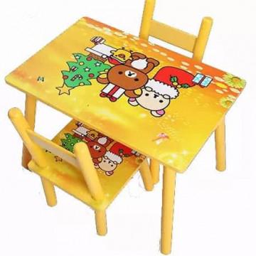 Masuta copii din MDF cu doua scaune , My first table, dimensiuni 59X39X40, suprafata lucioasa, Galben