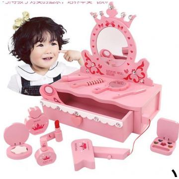 Masuta de toaleta din lemn cu accesorii Princess roz