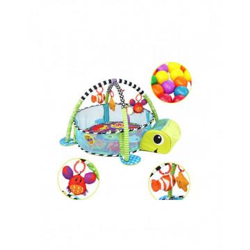 Spatiu de joaca cu saltea de activitati si tarc pentru bebelusi cu 30 bile Broscuta
