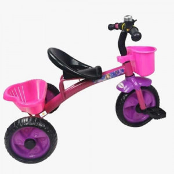 Tricicleta cu pedale, aliaj metalic, 2 cosuri, ghidon ajustabil, roz,3-5 ani