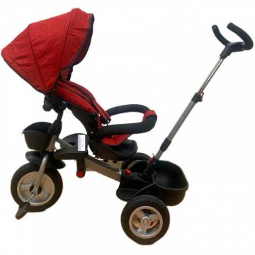 Tricicleta HUG S180 cu scaun reversibil, pozitie de somn, ROSU