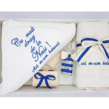 Trusou pentru botez, albastru, funda 2 culori, 7 piese
