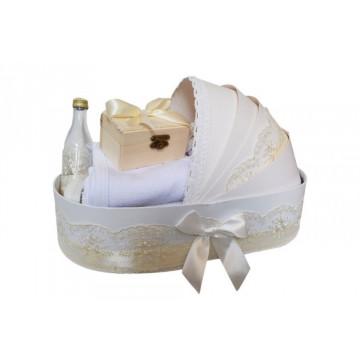 Trusou pentru botez, in cutie landou, complet pentru biserica, ivoire