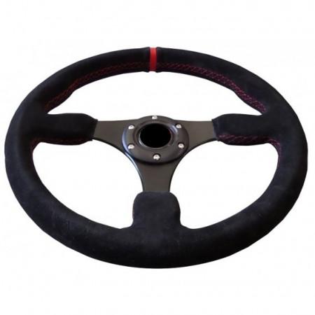 Imagens Volante Desportivo Rally Tipo OMP Camurça Vermelho Blk Plano