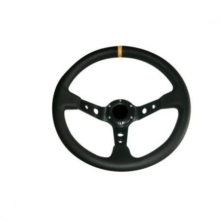 Imagens Volante Desportivo Rally Tipo OMP Pele Amarelo Blk