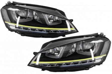 Imagens Conjunto Farois Vw Golf VII Opticas Volkswagen Golf 7 Amarelo