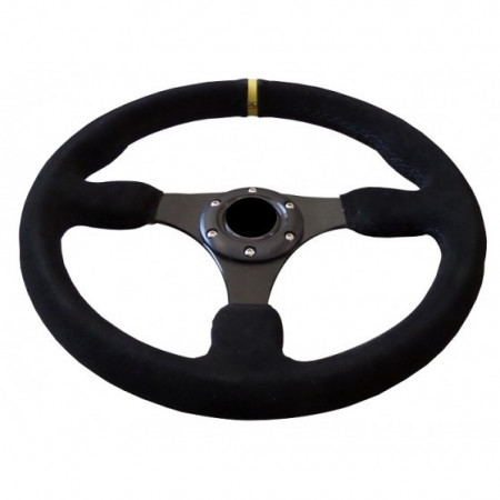 Imagens Volante Desportivo Rally Tipo OMP Camurça Amarelo Blk Plano