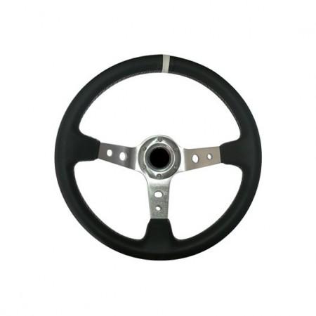 Imagens Volante Desportivo Rally Tipo OMP Pele Branco Chr
