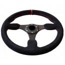 Volante Desportivo Rally Tipo OMP Camurça Vermelho Blk Plano