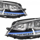 Conjunto Farois Vw Golf VII Look Xenon Azul Opticas Golf 7 Azul