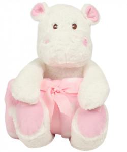 """Hipopotam cu paturica personalizata brodata """"Hippo girl"""""""