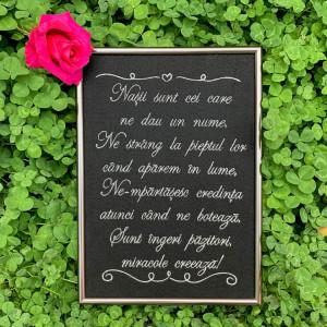 Tablou personalizat brodat nasi botez cu mesaj 29.7x21 cm