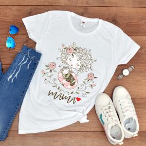"Tricou personalizat mama ""Mom&flowers"""