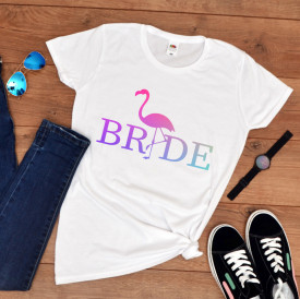 """Tricou personalizat petrecerea burlacitelor """"Flamingo bride"""""""