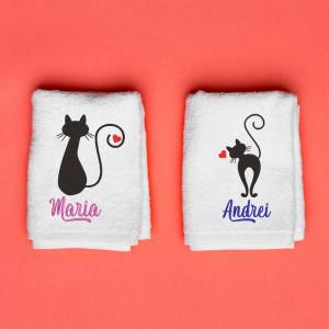 """Prosoape personalizate brodate cuplu """"Cats"""""""