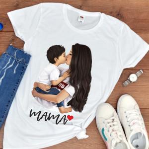 """Tricou personalizat mama """"Mamica cu baietel"""""""