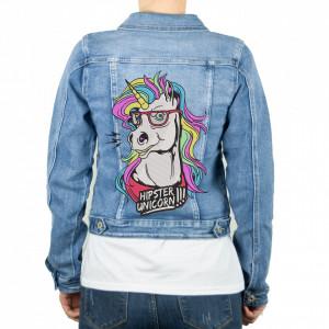 "Geaca personalizata blugi ""Hipster Unicorn"""