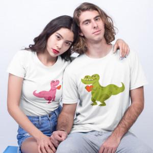 """Set tricouri personalizate cuplu """"Dino"""""""
