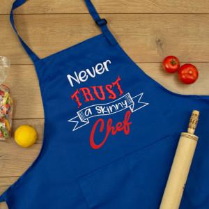 """Sort personalizat brodat """"Never trust a skinny chef"""""""