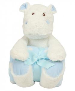 """Hipopotam cu paturica personalizata brodata """"Hippo boy"""""""