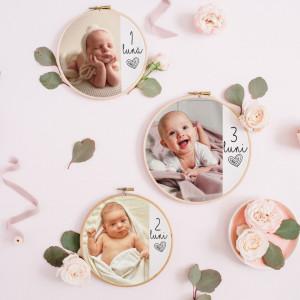 """Set 12 tablouri personalizate fotografie """"Primul an"""""""