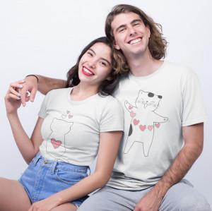 Set tricouri personalizate cuplu pisici