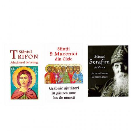 Pachet promotional 3 carti - Sfinti aducatori de belsug: Sfantul Trifon, Sfantul Serafim de Virita, Sfintii 9 Mucenici din Cizec