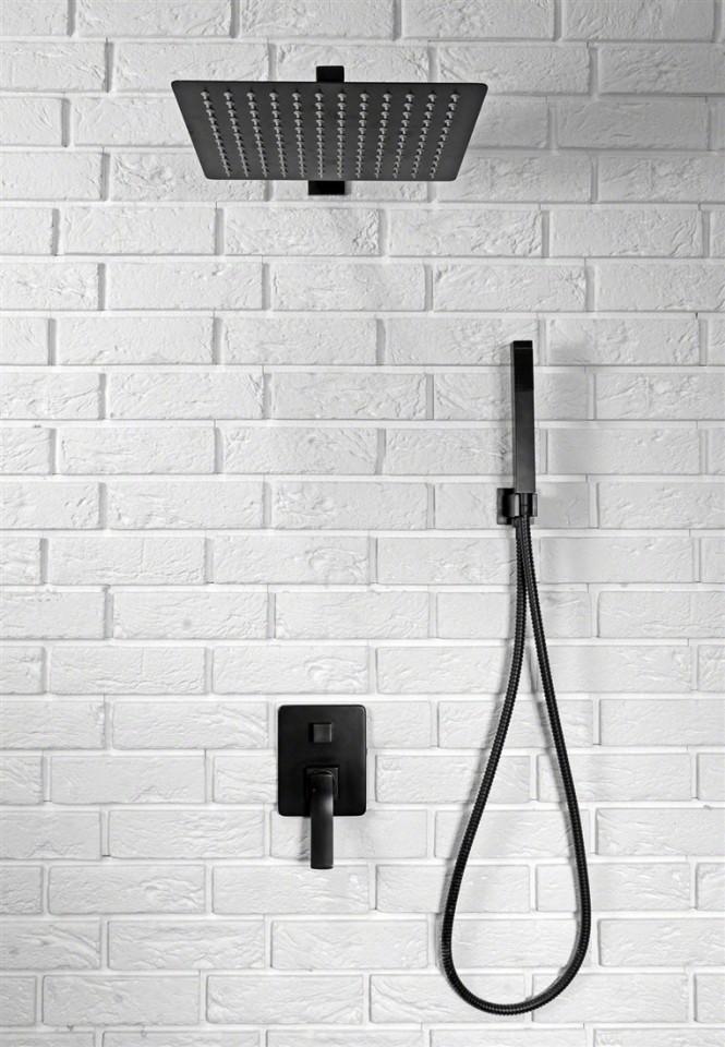 set de dus incastrat cu baterie finisaj negru para de dus si dispersor fix din seria black. Black Bedroom Furniture Sets. Home Design Ideas