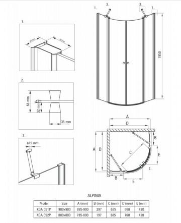 Alpinia Cabina de dus semirotunda 80*80 cm