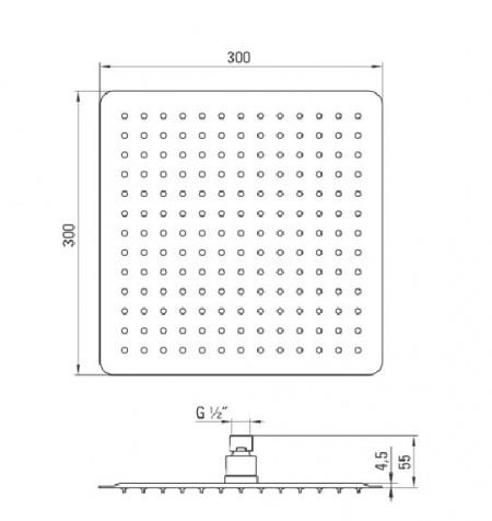 Floks dispersor fix - patrat crom anticalcar 30*30 cm