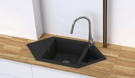 Hexon Chiuveta Granit 1,5-bowl sink with drainer Finishing: metallic grey
