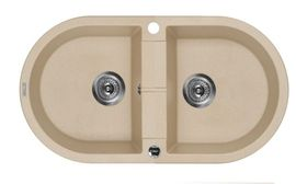 PIVA SINK TWO BOWLS WITH DRAINING BOARD, WITH FITTING, SANDY GRANITE