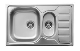 SOUL SATIN SINK 1,5-BOWL WITH DRAINER WITH FITTING