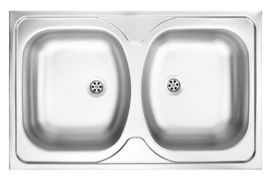 TANGO 2-BOWL LAY-ON S/S SINK WITHOUT DRAINING BOARD, 800X500, WITH FITTINGS, SATIN