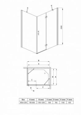 Cabina de dus dreptunghiulara formata din parte fixa si usa cu balamale 90*120 kta045p Abelia