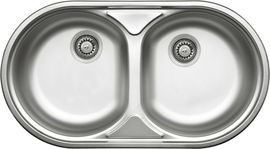 DUET 2-BOWL S/S SINK WITHOUT DRAINING BOARD, WITH FITTINGS, DECOR